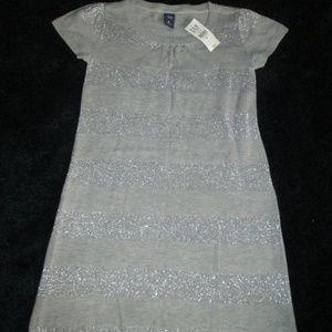 NWT - Gap Kids - Grey Stripped Sparkle Dress XL